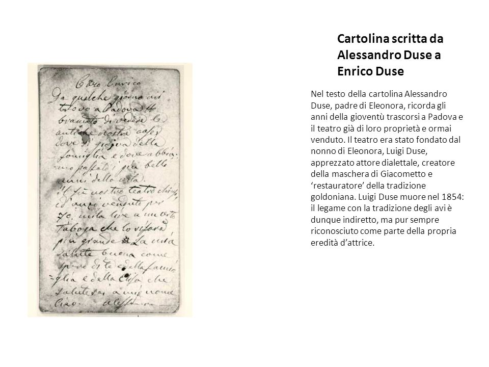 Cartolina scritta da Alessandro Duse a Enrico Duse