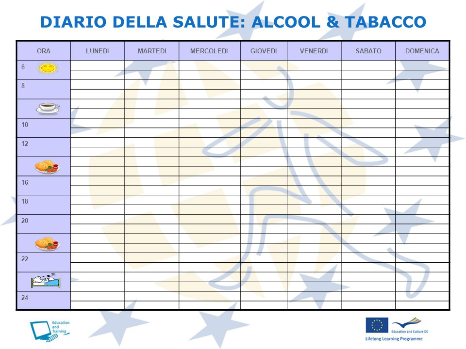 DIARIO DELLA SALUTE: ALCOOL & TABACCO