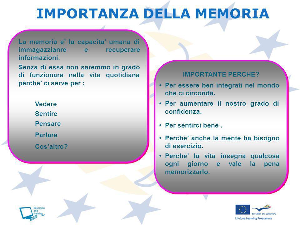 IMPORTANZA DELLA MEMORIA