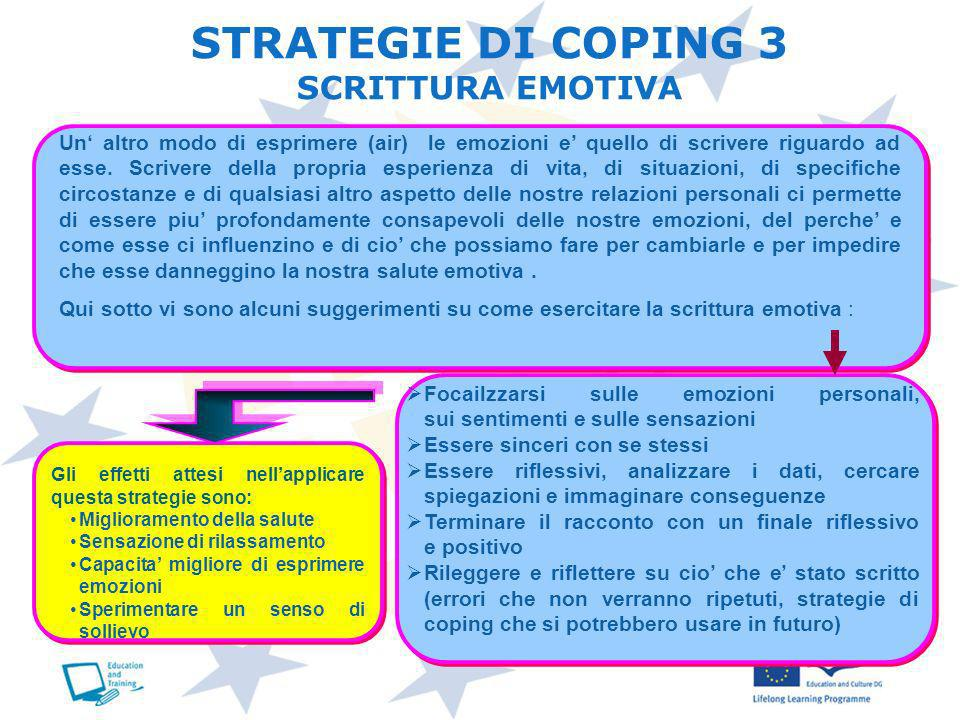 STRATEGIE DI COPING 3 SCRITTURA EMOTIVA