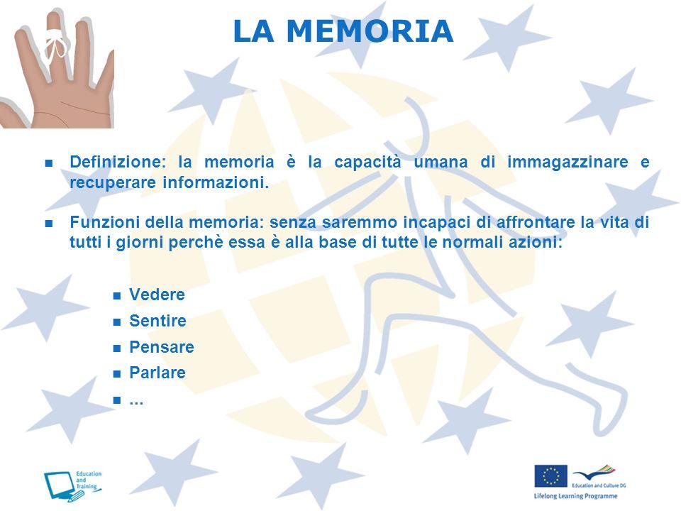LA MEMORIADefinizione: la memoria è la capacità umana di immagazzinare e recuperare informazioni.
