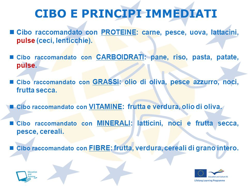 CIBO E PRINCIPI IMMEDIATI