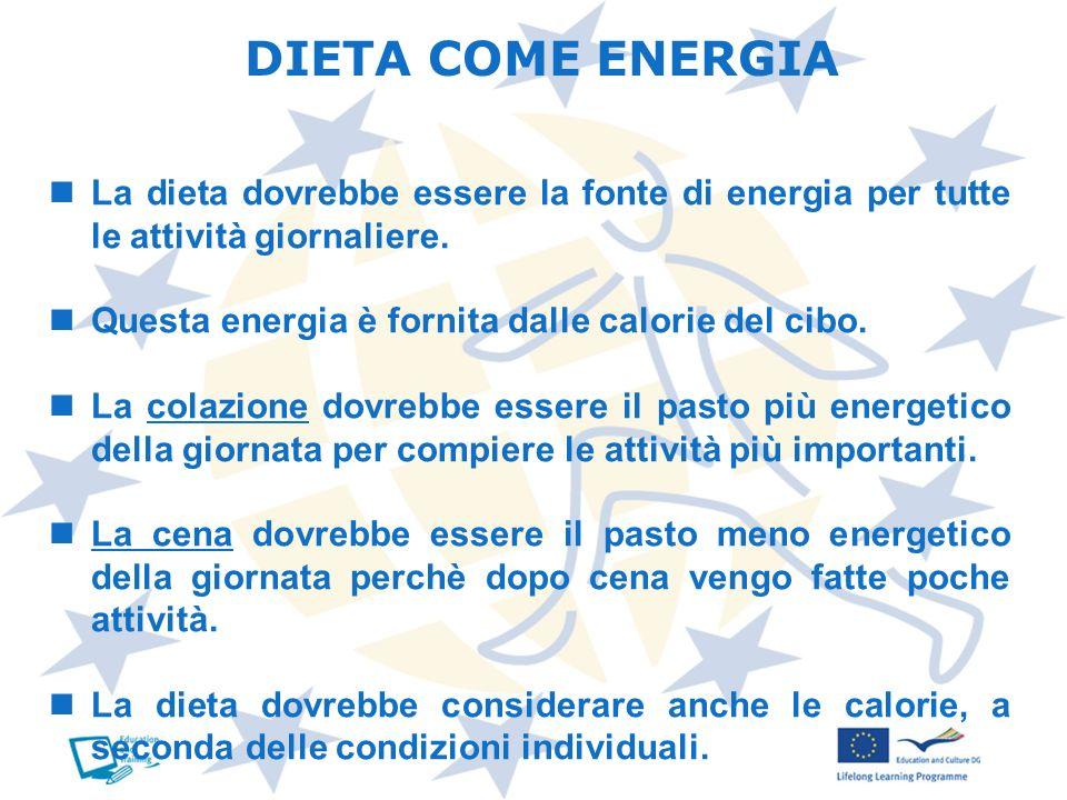 DIETA COME ENERGIA La dieta dovrebbe essere la fonte di energia per tutte le attività giornaliere. Questa energia è fornita dalle calorie del cibo.