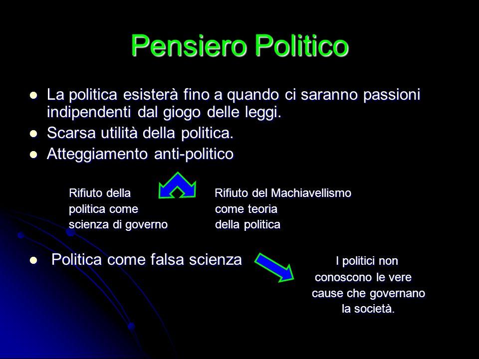 Pensiero Politico La politica esisterà fino a quando ci saranno passioni indipendenti dal giogo delle leggi.