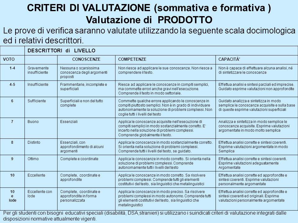 CRITERI DI VALUTAZIONE (sommativa e formativa )