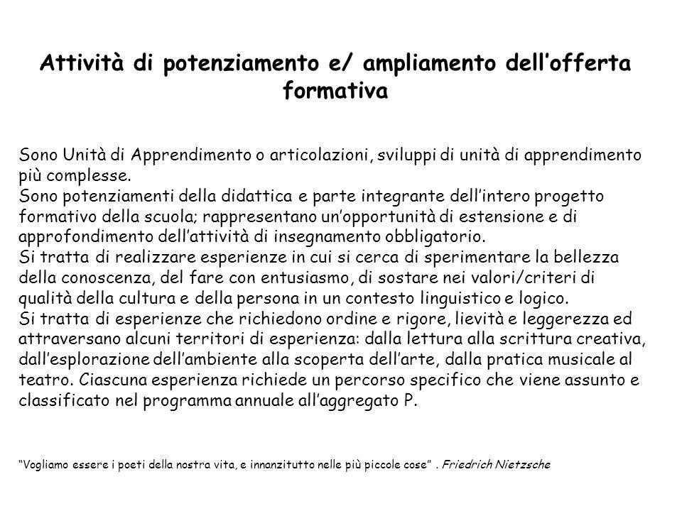 Attività di potenziamento e/ ampliamento dell'offerta formativa