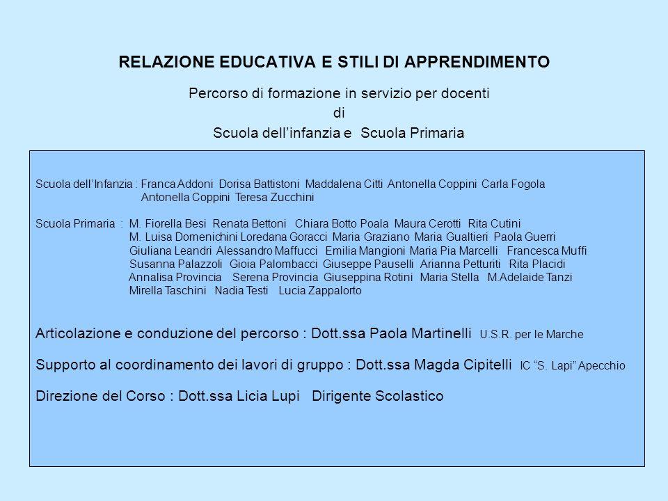 RELAZIONE EDUCATIVA E STILI DI APPRENDIMENTO