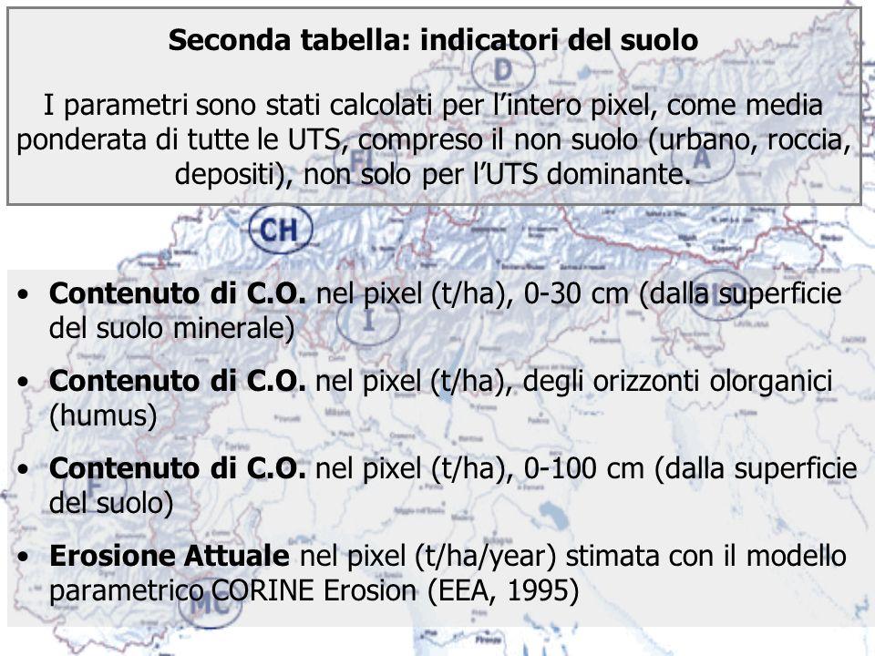 Seconda tabella: indicatori del suolo I parametri sono stati calcolati per l'intero pixel, come media ponderata di tutte le UTS, compreso il non suolo (urbano, roccia, depositi), non solo per l'UTS dominante.
