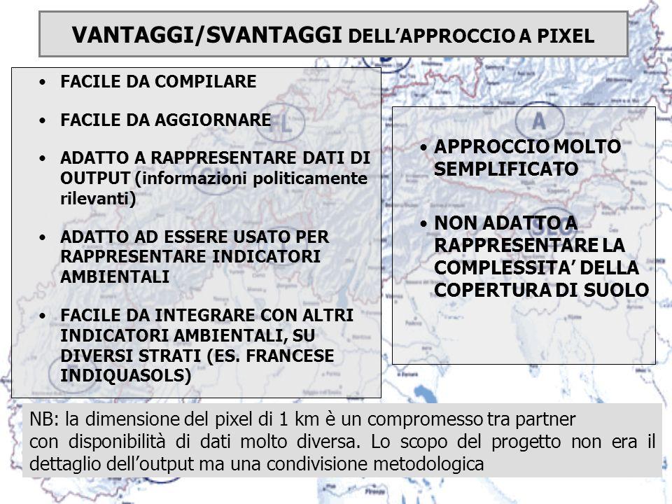 VANTAGGI/SVANTAGGI DELL'APPROCCIO A PIXEL