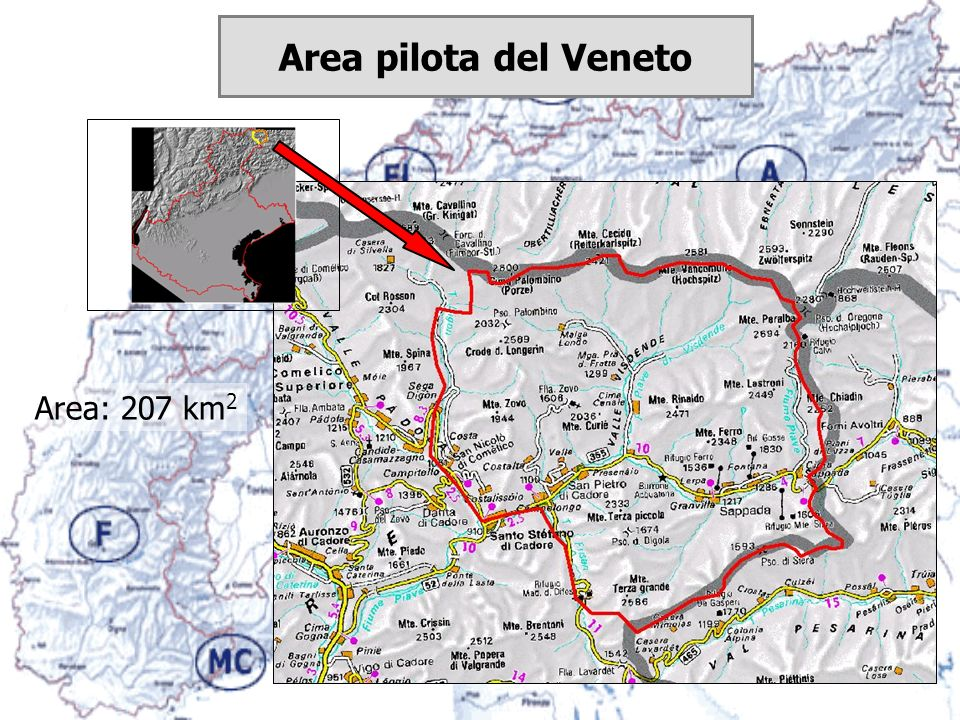 Area pilota del Veneto Area: 207 km2