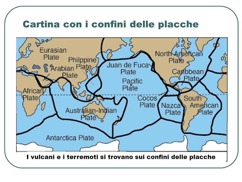 Cartina con i confini delle placche