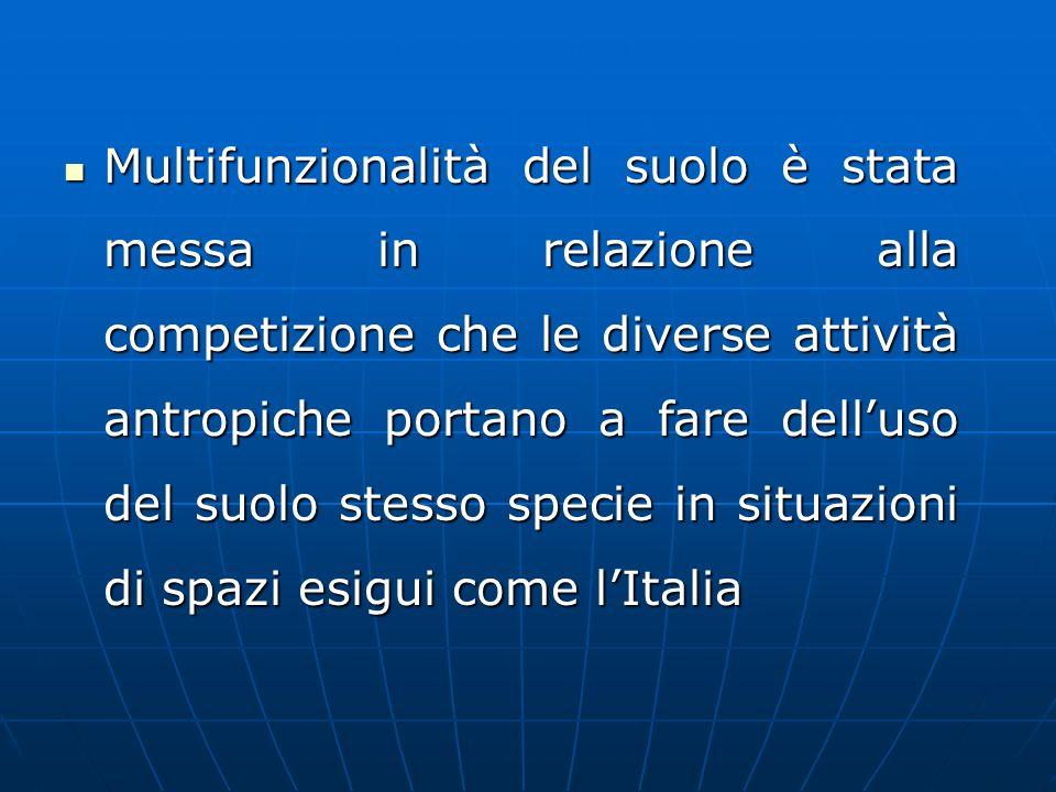 Multifunzionalità del suolo è stata messa in relazione alla competizione che le diverse attività antropiche portano a fare dell'uso del suolo stesso specie in situazioni di spazi esigui come l'Italia