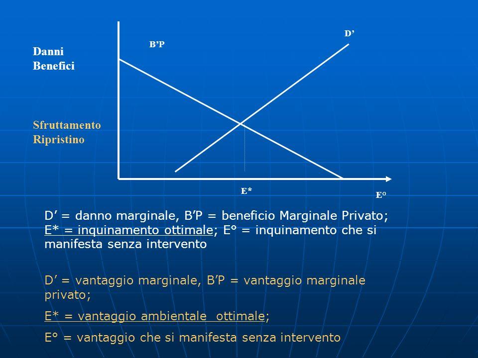 D' = vantaggio marginale, B'P = vantaggio marginale privato;