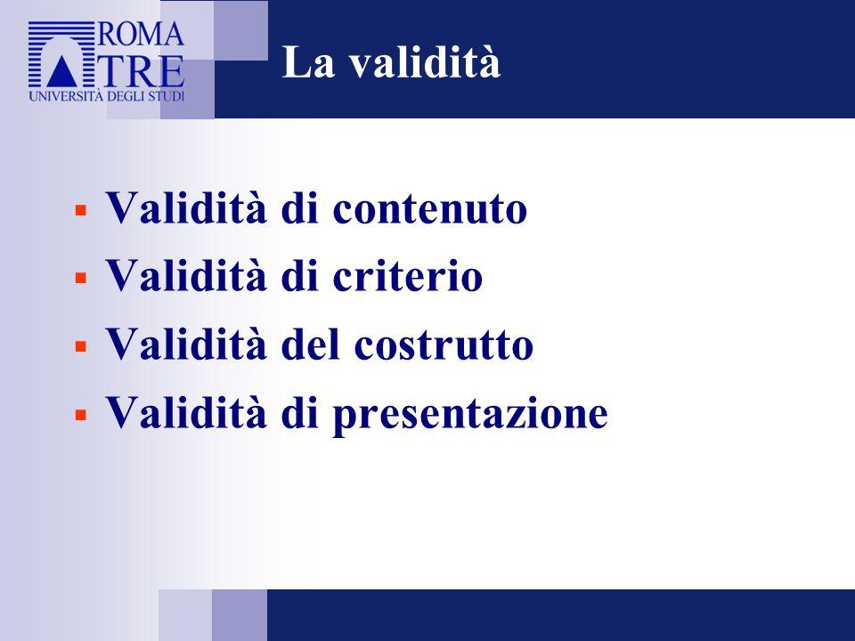 La validità Validità di contenuto. Validità di criterio.