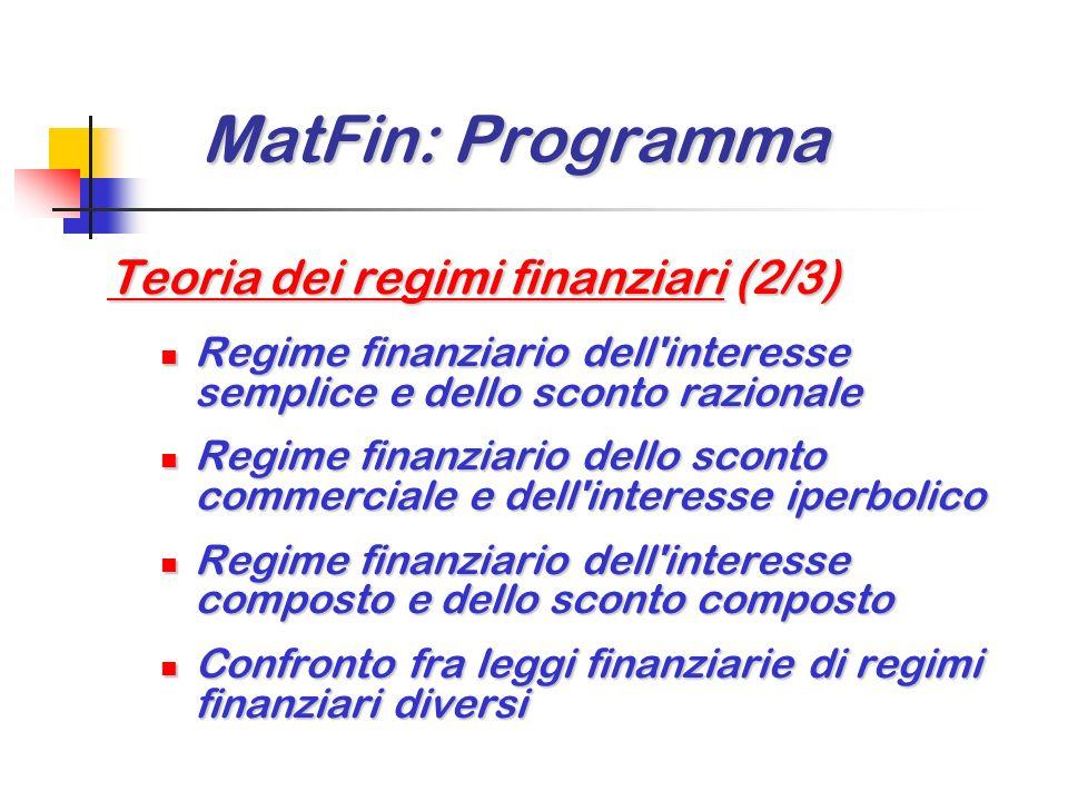 MatFin: Programma Teoria dei regimi finanziari (2/3)