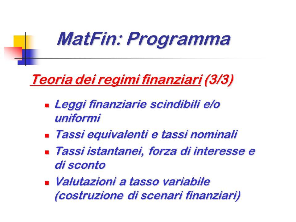 MatFin: Programma Teoria dei regimi finanziari (3/3)