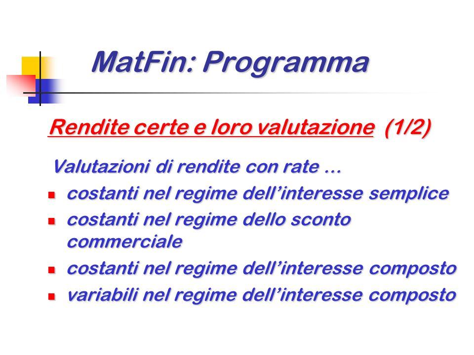 MatFin: Programma Rendite certe e loro valutazione (1/2)