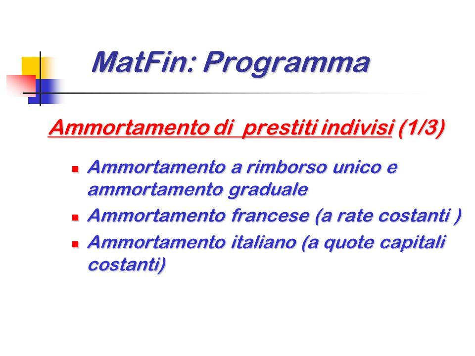MatFin: Programma Ammortamento di prestiti indivisi (1/3)
