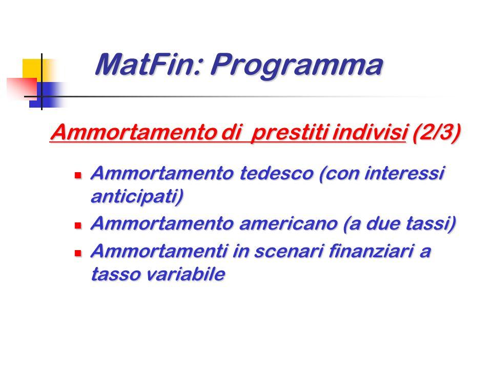 MatFin: Programma Ammortamento di prestiti indivisi (2/3)