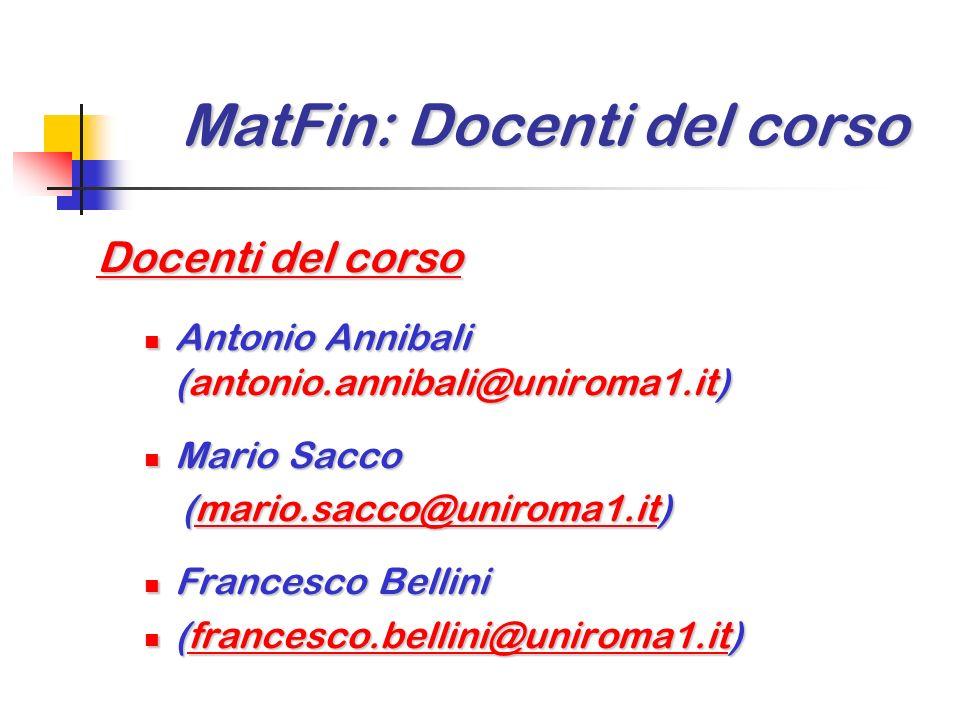 MatFin: Docenti del corso