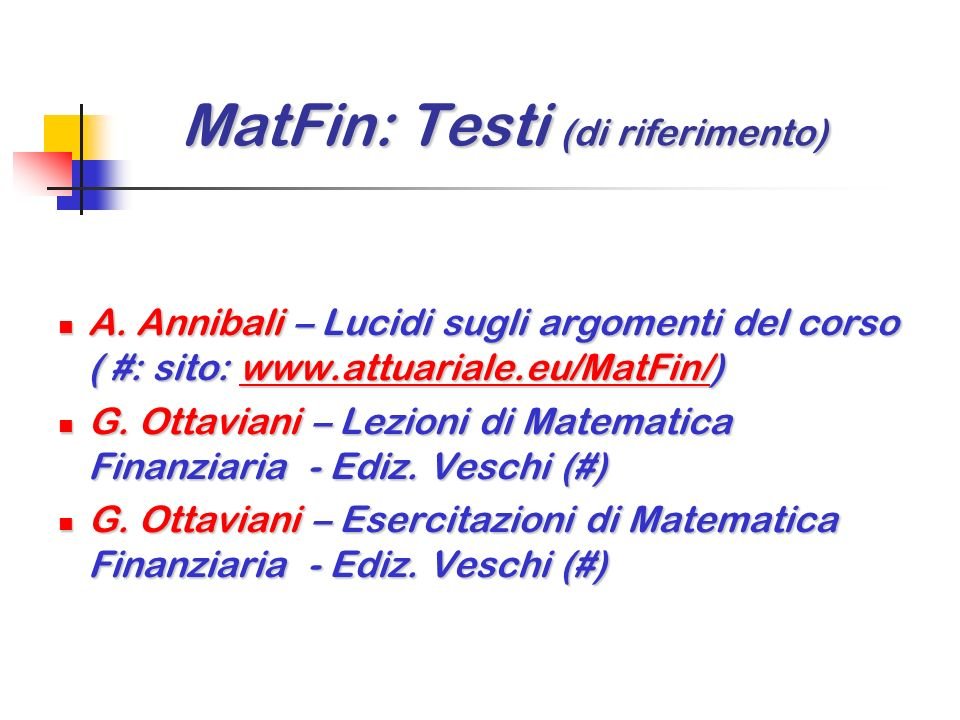 MatFin: Testi (di riferimento)