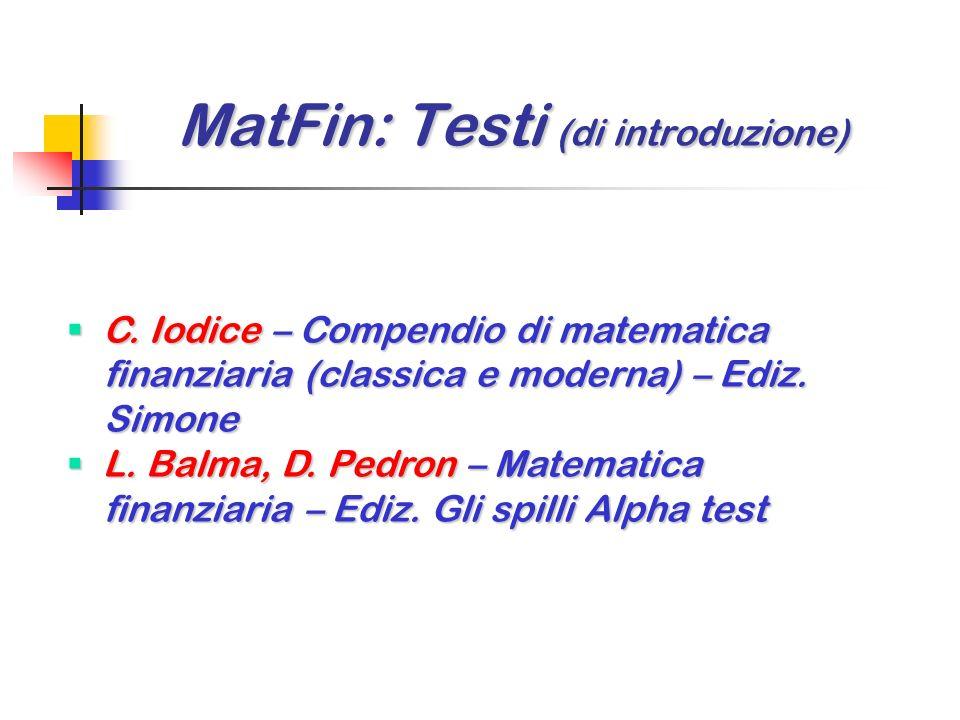 MatFin: Testi (di introduzione)