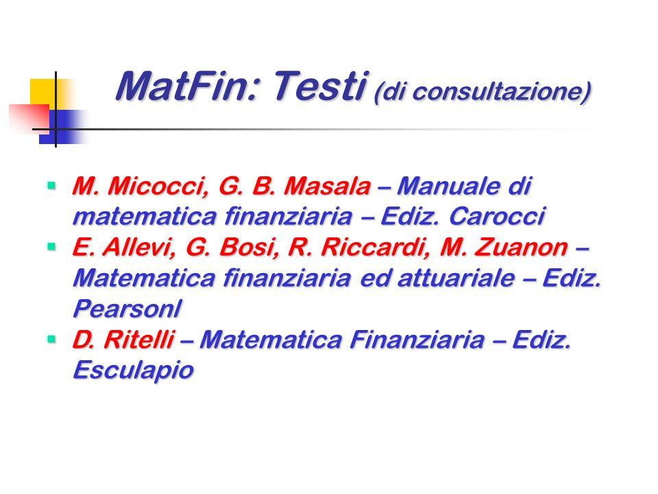 MatFin: Testi (di consultazione)