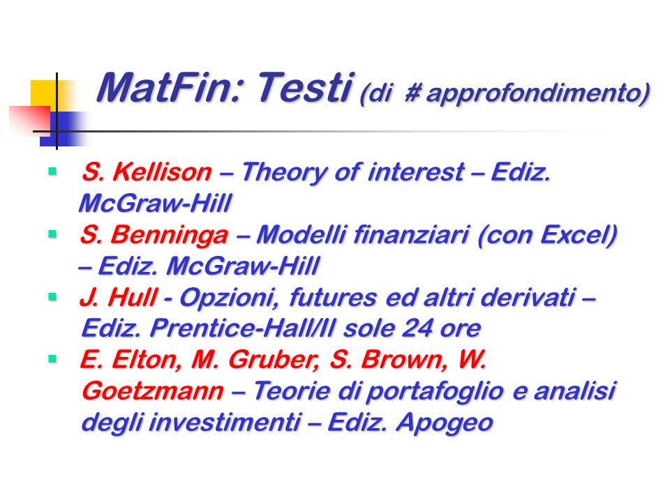 MatFin: Testi (di # approfondimento)
