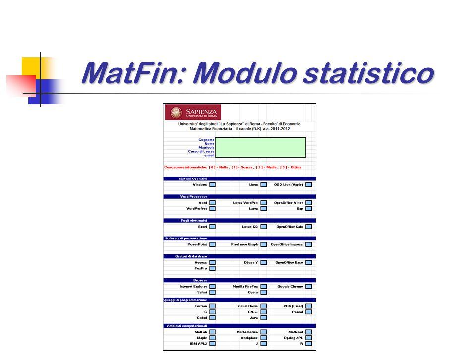 MatFin: Modulo statistico