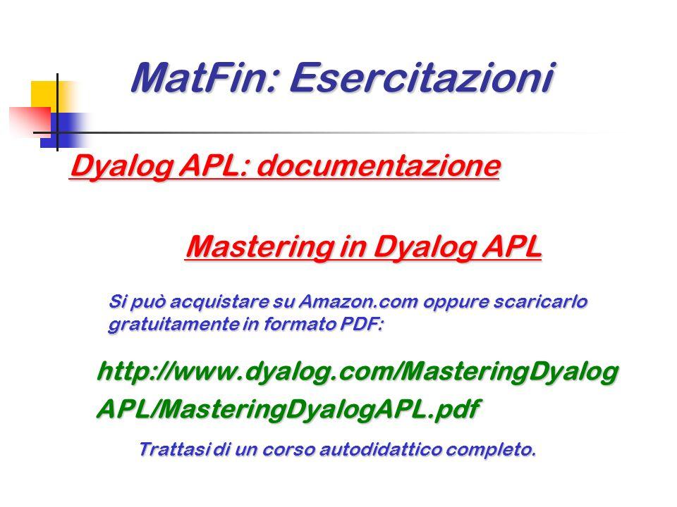 MatFin: Esercitazioni