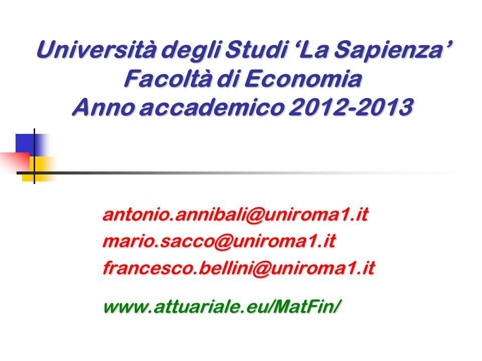Università degli Studi 'La Sapienza' Facoltà di Economia Anno accademico 2012-2013