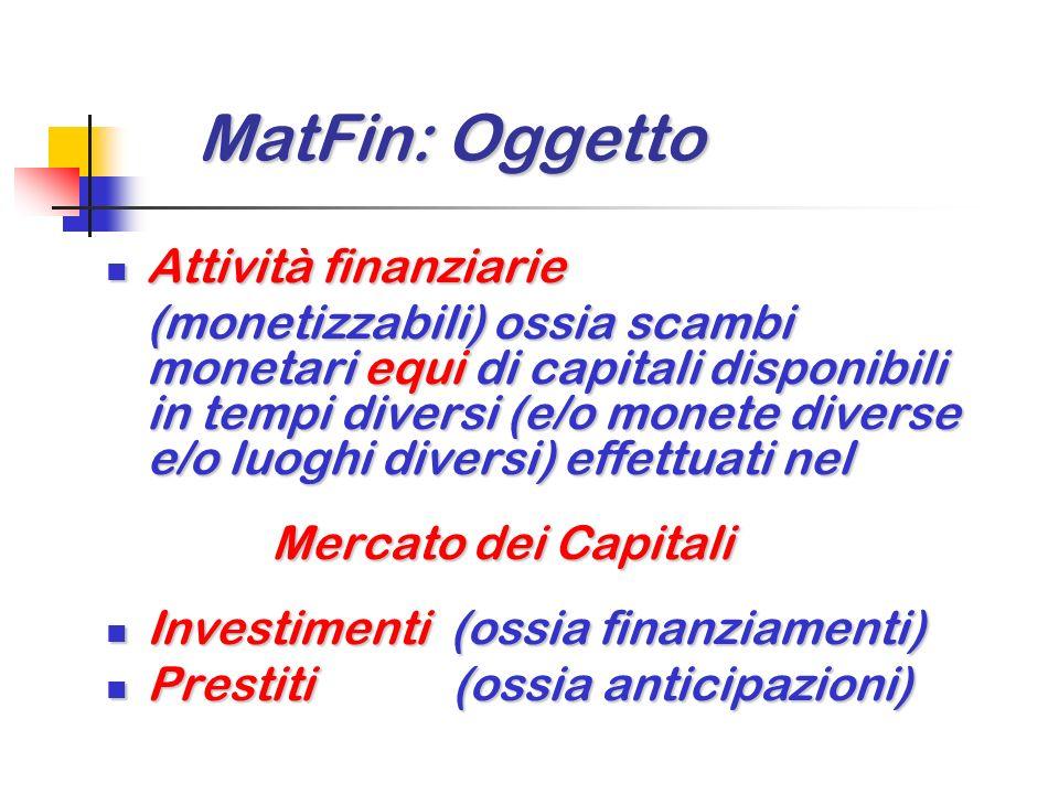 MatFin: Oggetto Attività finanziarie Mercato dei Capitali