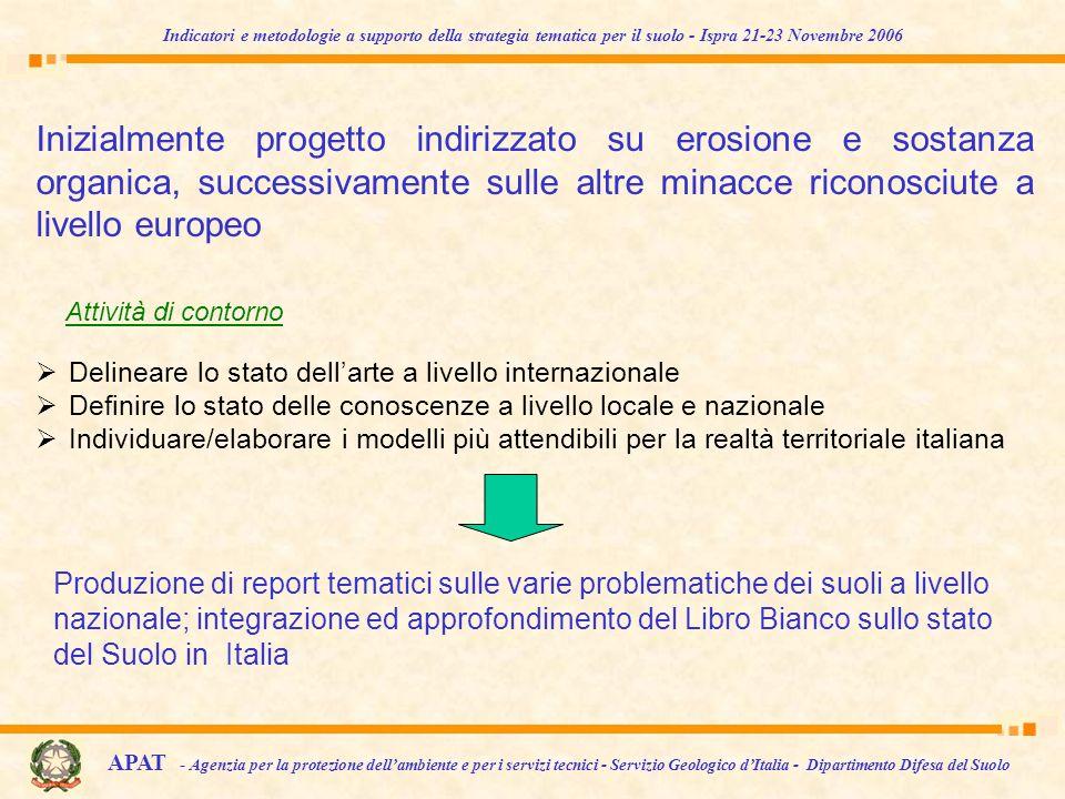 Indicatori e metodologie a supporto della strategia tematica per il suolo - Ispra 21-23 Novembre 2006