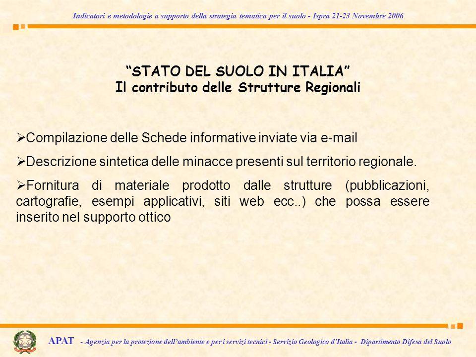 STATO DEL SUOLO IN ITALIA Il contributo delle Strutture Regionali