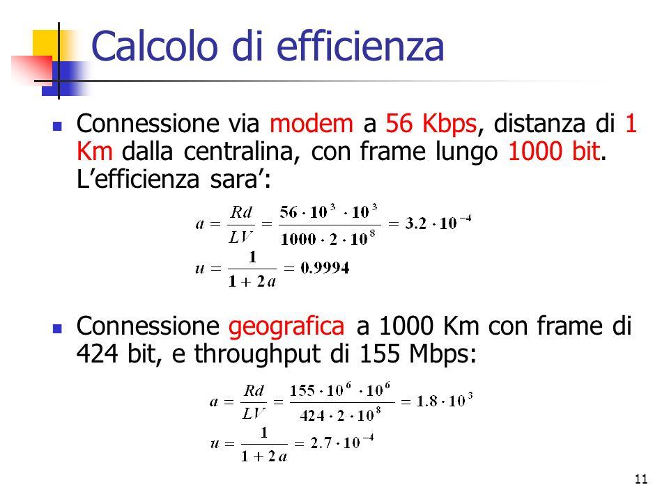 Calcolo di efficienza Connessione via modem a 56 Kbps, distanza di 1 Km dalla centralina, con frame lungo 1000 bit. L'efficienza sara':