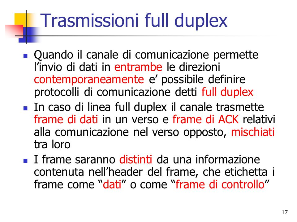 Trasmissioni full duplex