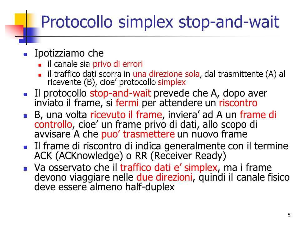 Protocollo simplex stop-and-wait
