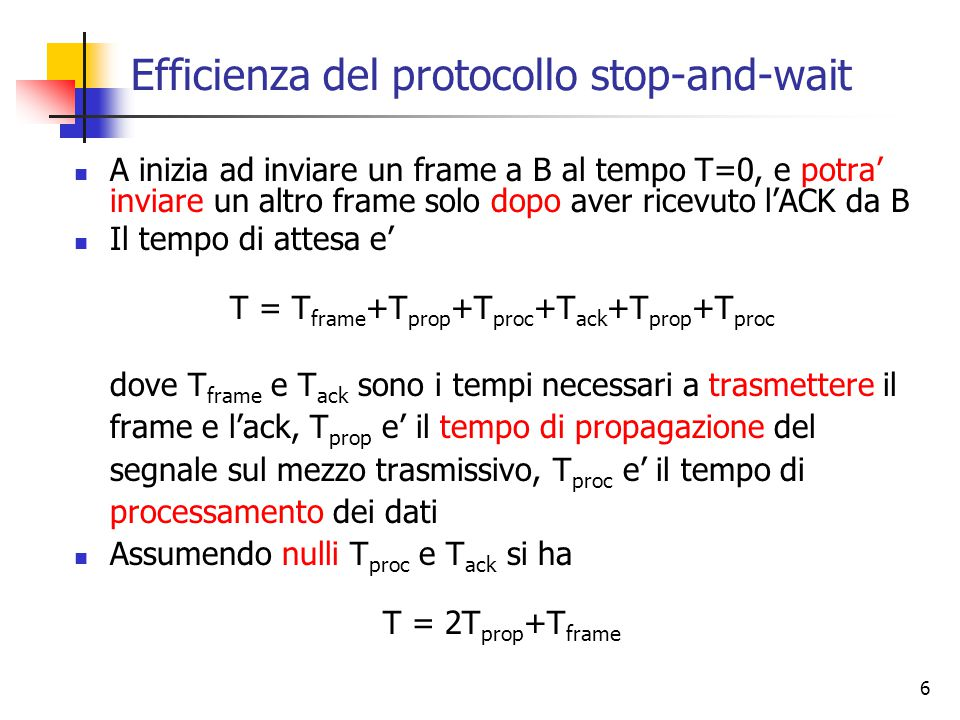 Efficienza del protocollo stop-and-wait