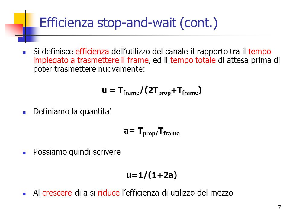 Efficienza stop-and-wait (cont.)