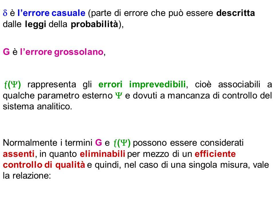  è l'errore casuale (parte di errore che può essere descritta dalle leggi della probabilità),