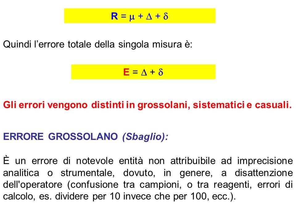 R =  +  +  Quindi l'errore totale della singola misura è: E =  +  Gli errori vengono distinti in grossolani, sistematici e casuali.