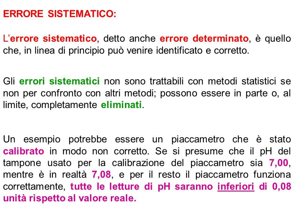 ERRORE SISTEMATICO: L'errore sistematico, detto anche errore determinato, è quello che, in linea di principio può venire identificato e corretto.