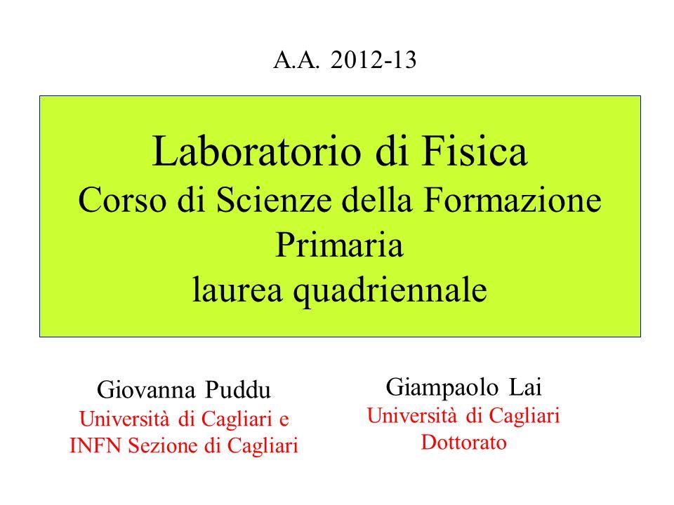 A.A. 2012-13 Laboratorio di Fisica Corso di Scienze della Formazione Primaria laurea quadriennale.