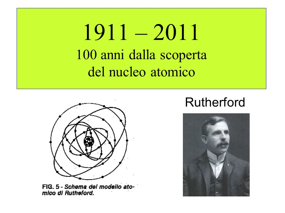 1911 – 2011 100 anni dalla scoperta del nucleo atomico
