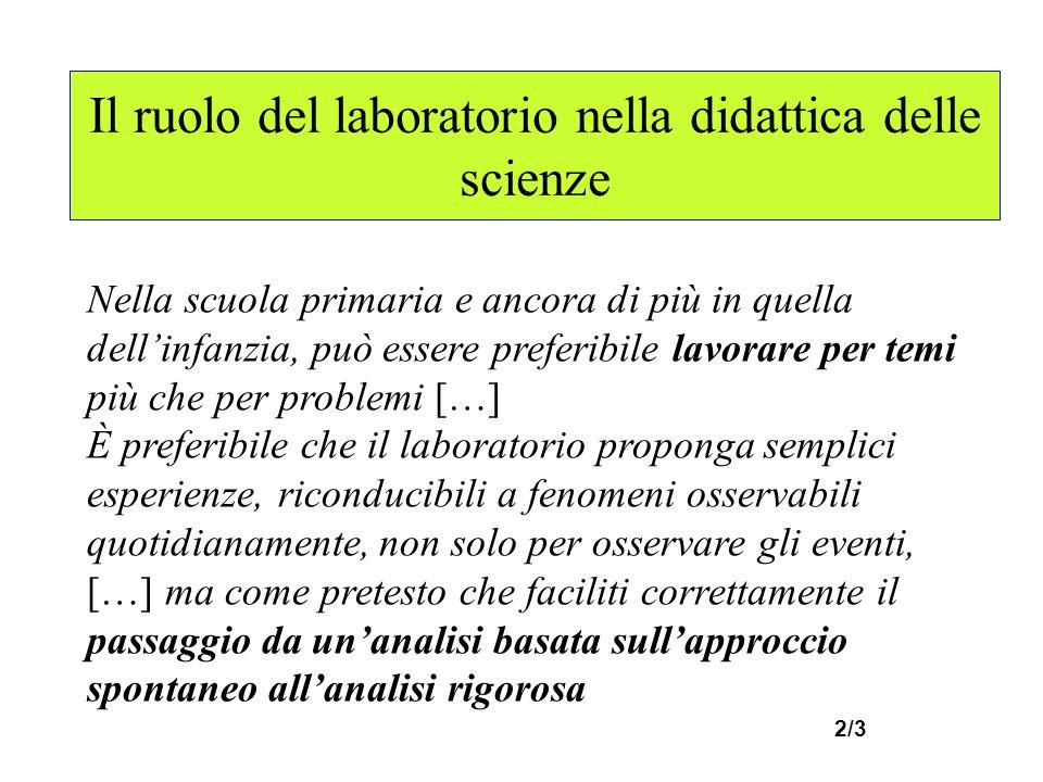 Il ruolo del laboratorio nella didattica delle scienze