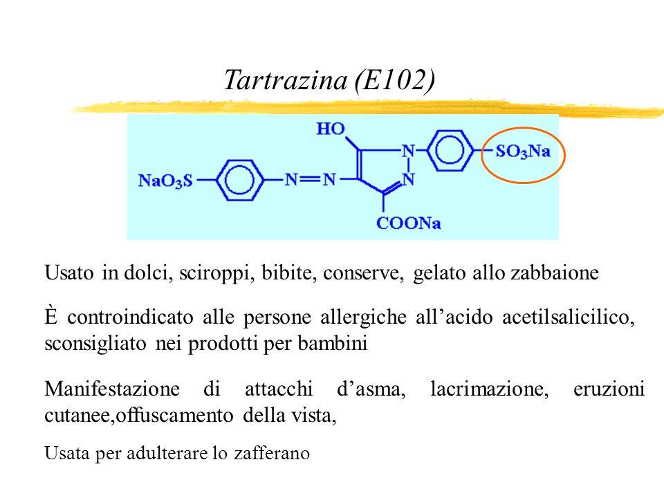 Tartrazina (E102) Usato in dolci, sciroppi, bibite, conserve, gelato allo zabbaione.