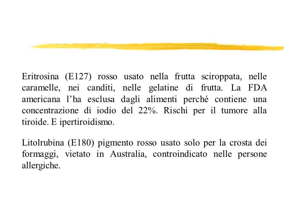 Eritrosina (E127) rosso usato nella frutta sciroppata, nelle caramelle, nei canditi, nelle gelatine di frutta. La FDA americana l'ha esclusa dagli alimenti perché contiene una concentrazione di iodio del 22%. Rischi per il tumore alla tiroide. E ipertiroidismo.