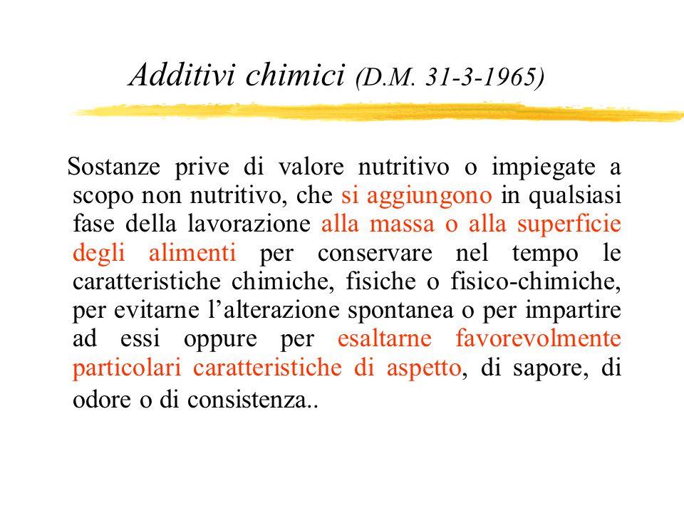 Additivi chimici (D.M. 31-3-1965)