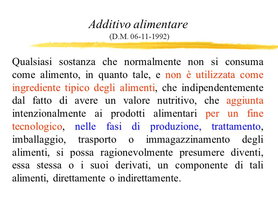 Additivo alimentare (D.M. 06-11-1992)