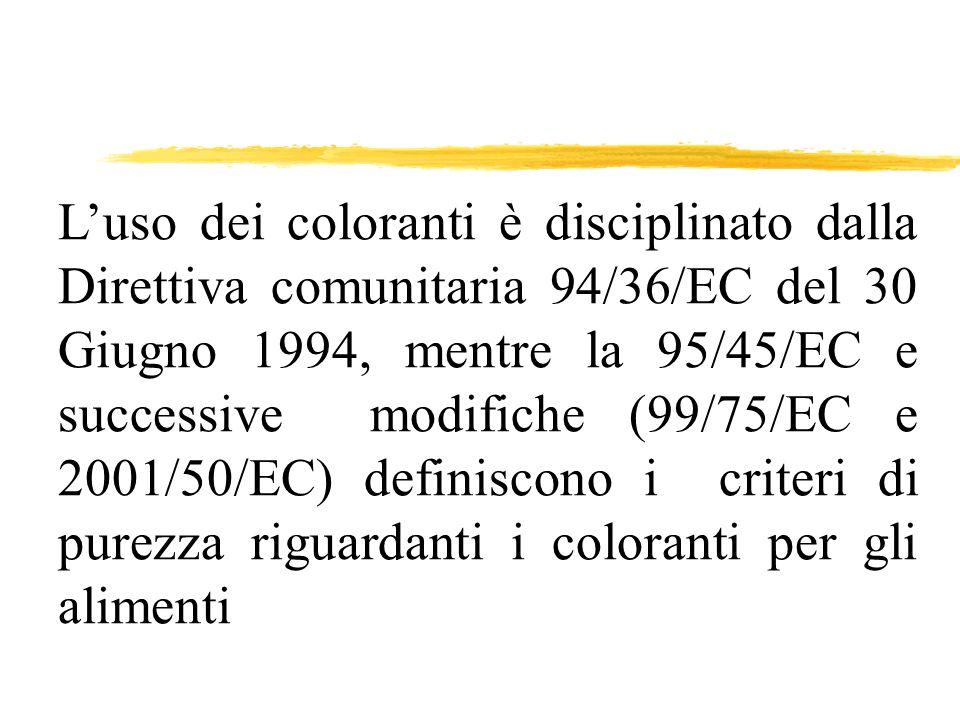 L'uso dei coloranti è disciplinato dalla Direttiva comunitaria 94/36/EC del 30 Giugno 1994, mentre la 95/45/EC e successive modifiche (99/75/EC e 2001/50/EC) definiscono i criteri di purezza riguardanti i coloranti per gli alimenti